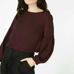 Zara ballon sleeve burgundy top